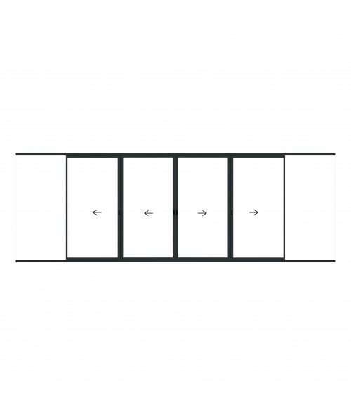 Coulissant à galandage 4 vantaux 2 rails
