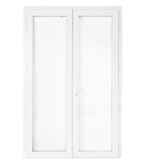 Porte PVC avec serrure 2 vantaux OF/OA Vitrée