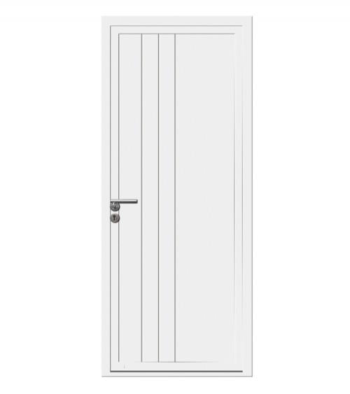 Porte d'entrée alu 1 vantail ACAJOU blanc